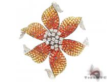 Orange & Yellow Sapphire Diamond Flower Brooch Stone