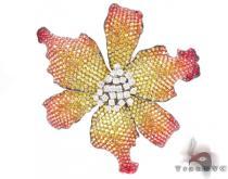 Multi Colored Sapphire & Diamond Exotic Flower Brooch ジェムストーン ペンダント