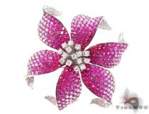 White Gold Pink Shades Sapphire & Diamond Flower Brooch ジェムストーン ペンダント
