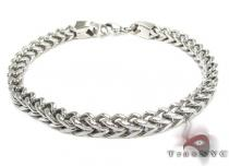 White Stainless Steel Chain Bracelet シルバー ブレスレット