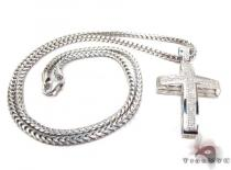 Junior Cross and 24 Inches Silver Franco Chain Set Mens Diamond Cross