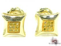 Small Round Cut Micro Pave Canary Diamond Earrings 2 Mens Stud Earrings