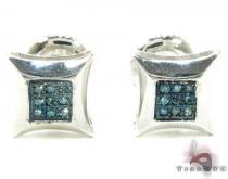 Small Round Cut Micro Pave Blue Diamond Earrings メンズ ダイヤモンドスタッズイヤリング