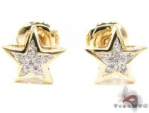 Round Cut Micro Pave Diamond Star Earrings Mens Stud Earrings