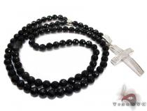 Diamond Onyx Beaded Rosary 32 Inches 75mm 834 Grams Diamond Gold Rosary Chains
