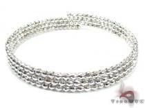 3 Row White Silver Bracelet ステアリングシルバーブレスレット