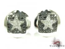 White Gold Round Cut Prong Diamond Star Earrings 25231 Mens Diamond Earrings