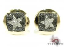 Yellow Gold Round Cut Prong Diamond Star Earrings 25233 Mens Diamond Earrings