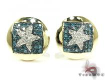 Yellow Gold Round Cut Prong Diamond Star Earrings 25235 Mens Diamond Earrings