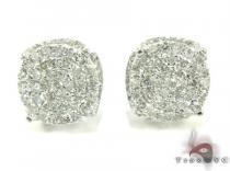 White Gold Round Cut Prong Diamond Earrings 25237 メンズ ダイヤモンドイヤリング ピアス