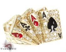 Yellow 10K Gold CZ Poker Cards Ring Mens Gold Rings