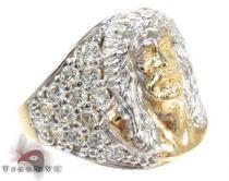 Two Tone 10K Gold CZ Jesus Ring 25244 Mens Gold Rings