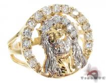 Yellow 10K Gold CZ Jesus Ring 25246 Mens Gold Rings