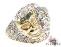 Two Tone 10K Gold CZ Masks Ring Mens Gold Rings