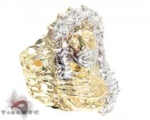 Two Tone 10K Gold CZ Small Jesus Ring Mens Gold Rings