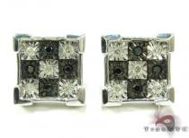 White Silver Round Cut Bezel Diamond Earrings 25288 Sterling Silver Earrings