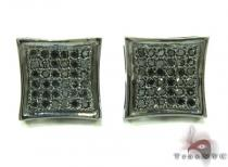 Black Silver Round Cut Micro Pave Diamond Earrings 25296 Metal