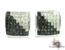 White Silver Round Cut Prong Black White Color Diamond Square Earrings 25299 シルバーイヤリング