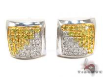 White Silver Round Cut Pave Canary & White Color Diamond Square Earrings Sterling Silver Earrings