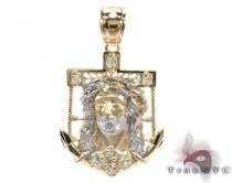 Yellow 10K Gold CZ Jesus Pendant 25322 Gold Pendants