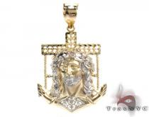 Yellow 10K Gold CZ Jesus Pendant 25323 ゴールド ペンダント