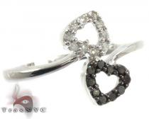 Sterling Silver Diamond Double Heart Ring 25379 Silver Rings For Women