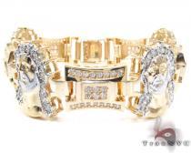 10K Gold CZ Jesus Head Bracelet 25393 Gold Mens Bracelets