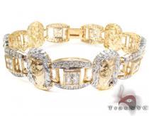 10K Gold CZ Jesus Head Bracelet 25394 Gold Mens Bracelets
