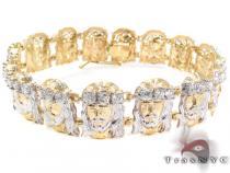 10K Gold CZ Jesus Head Bracelet 25395 Gold Mens Bracelets