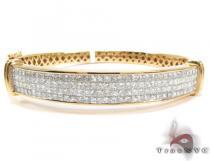 14K Gold 4 Row Diamond Bangle Bracelet 25421 ダイヤモンド ブレスレット