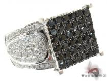 14K Gold Black and White Diamond Square Ring 25431 カラー ダイヤモンド リング
