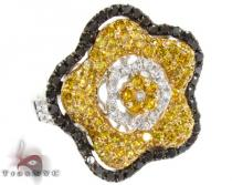 18K Gold Canary Color Diamond Flower Ring 25439 カラー ダイヤモンド リング