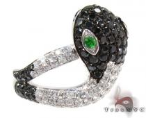 18K Gold & Diamond Snake Head Ring 25545 カラー ダイヤモンド リング