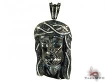 Silver Black and White Diamond Jesus Head Pendant 25559 ダイヤモンド ジーザス ペンダント