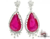 18K Gold Pink Ruby and Diamond Chandelier Earrings Stone