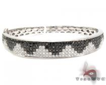 14K Gold Black and White Diamond Bangle Bracelet 25579 ダイヤモンド ブレスレット