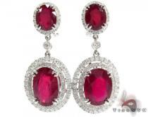 18K Gold Red Color Ruby and Diamond Elegant Earrings 25596 Gemstone Earrings