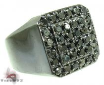 TraxNYC Silver Black Diamond Ring Mens Black Diamond Rings