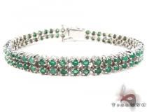 Silver 2 Row Emerald  Bracelet