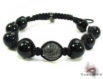 Silver with Black Diamond Bead Ball Bracelet Rope Bracelets