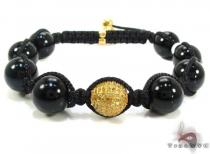 Silver with Canary Color Diamond Bead Ball Bracelet ロープ ブレスレット