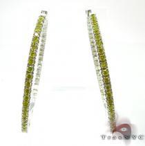 Canary & White Hoops ダイヤモンド フープイヤリング