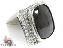 Black Diamond Solitaire Ring Mens Diamond Rings