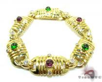 Eastern Ancient Style Ladies Bracelet Gemstone & Pearl