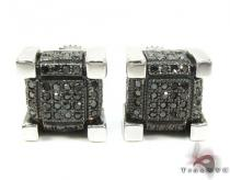 Micro-Pave Cube Black Diamond Earrings Stone