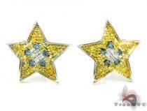 Tri-Color Star Diamond Earrings 26070 Mens Diamond Earrings