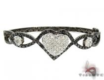 Heart Black and White Diamond Bangle Bracelet Diamond