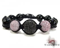 3 Pink and Black Color Bead Ball Bracelet Silver