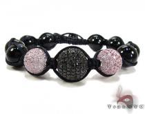 3 Pink and Black Color Bead Ball Bracelet Rope Bracelets