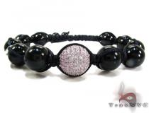 Pink Color CZ Bead Ball Bracelet Silver
